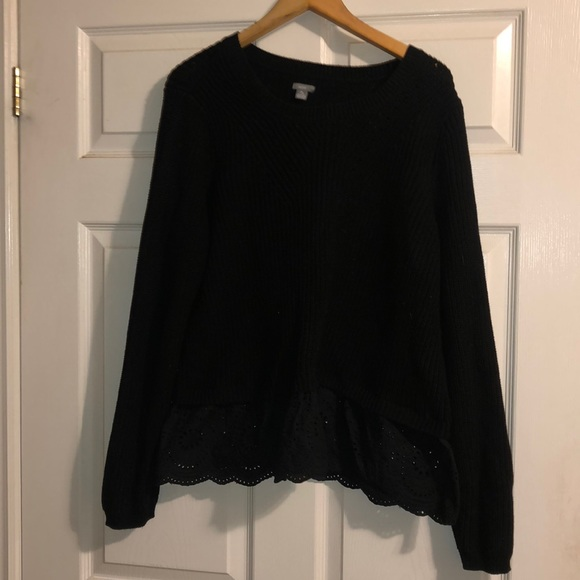Black Knit Sweater with Crochet Detail